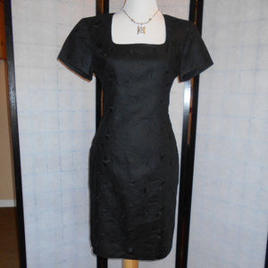 Liz Claiborne Fitted Linen Black Embroidered Dress